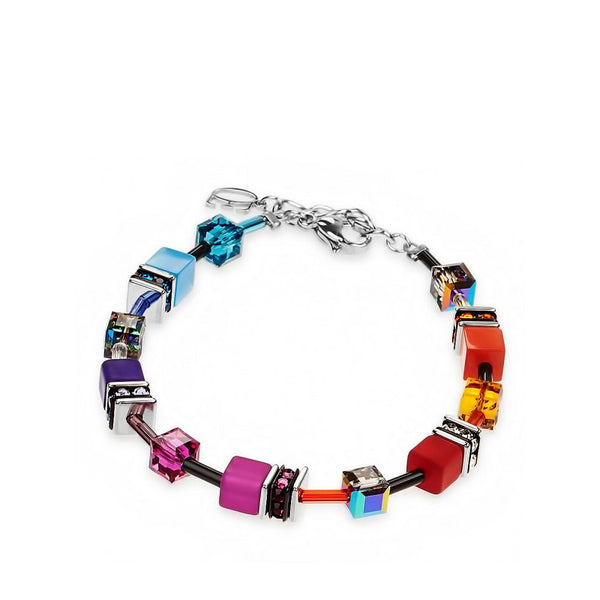 Coeur de Lion Cat Eye multicolor cubes and crystals bracelet