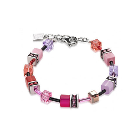 Coeur de Lion Cat Eye fuchsia-lavender cubes and crystals bracelet