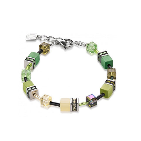 Coeur de Lion Cat Eye multi-green cubes and crystals bracelet