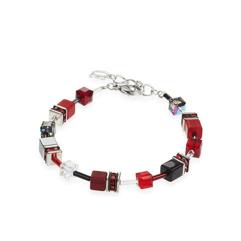 Coeur de Lion Cat Eye red-black cubes and crystals bracelet