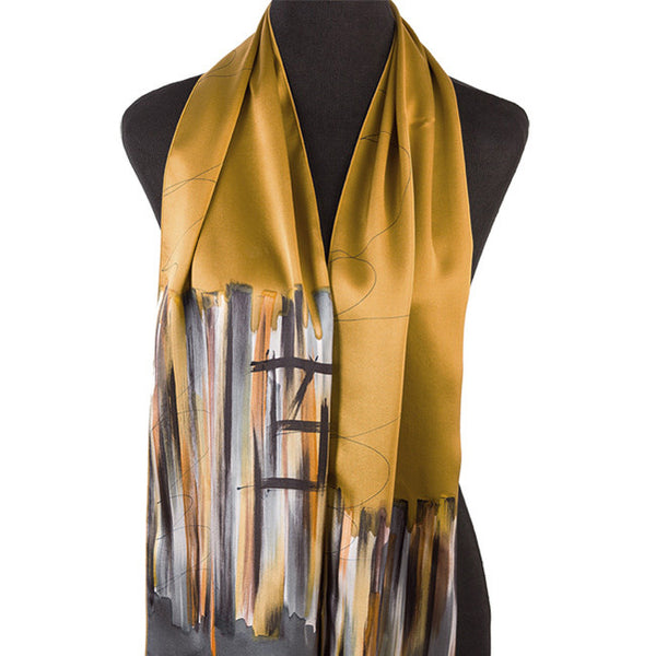 Hand-painted wine country silk scarves