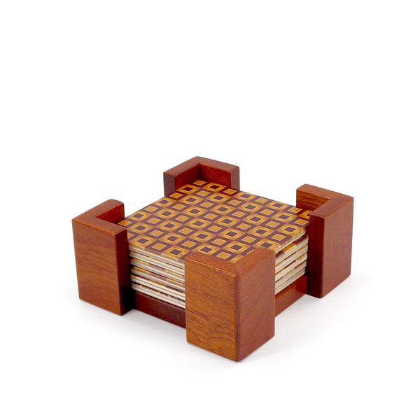Geometric wood pattern coasters, set of 4