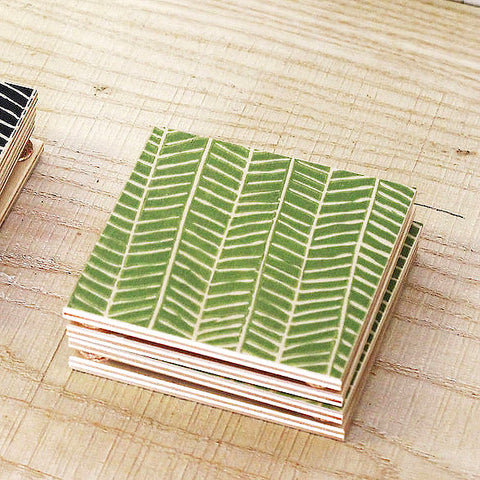 Colorful painted wood coasters with chevron design, set of 2