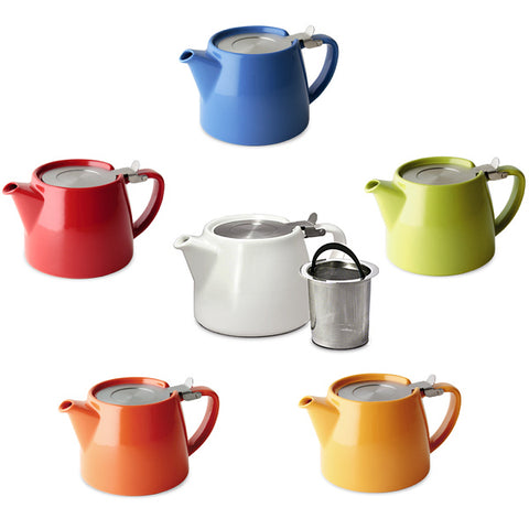Colorful ceramic personal teapot with infuser