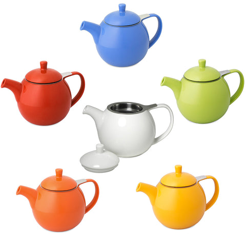 Curve colorful ceramic teapot with infuser, 24 oz
