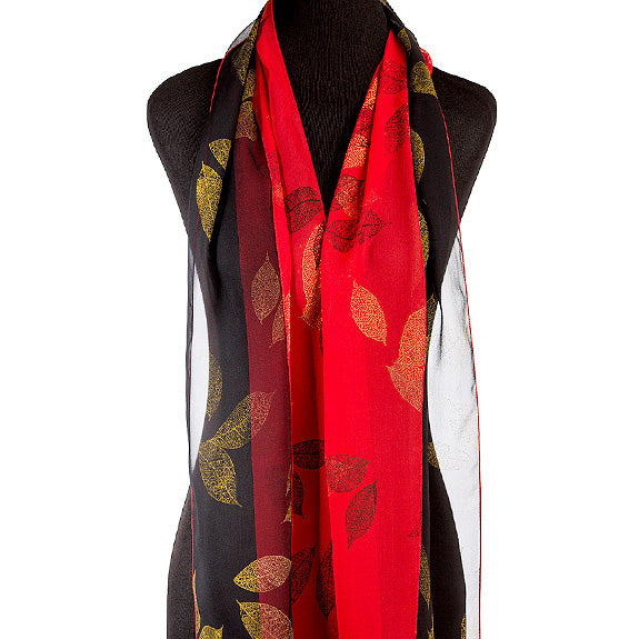 Hand-painted leaves silk chiffon scarf, red/black/gold