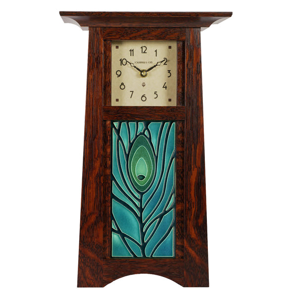 Tall Craftsman clock with Motawi tile inset