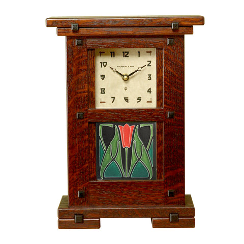 Greene & Greene style clock with Motawi tile inset