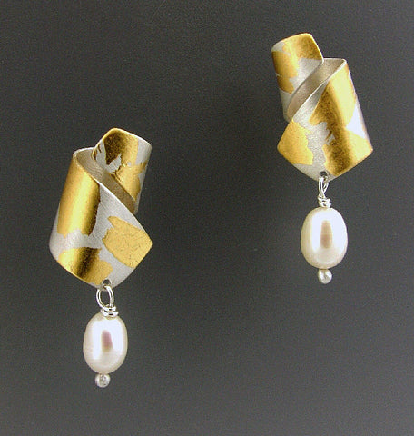 Judith Neugebauer silver and gold leaf curls and pearls earrings