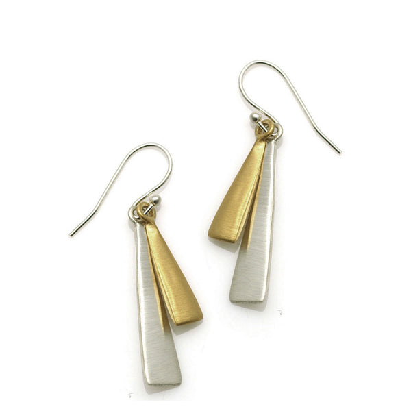 Philippa Roberts solid narrow triangle silver and gold vermeil earrings