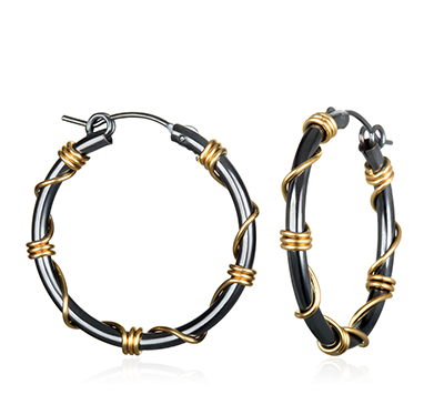 Q Evon oxidized silver hoop earrings wrapped with gold wire