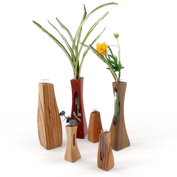 Handcrafted wood bud vases