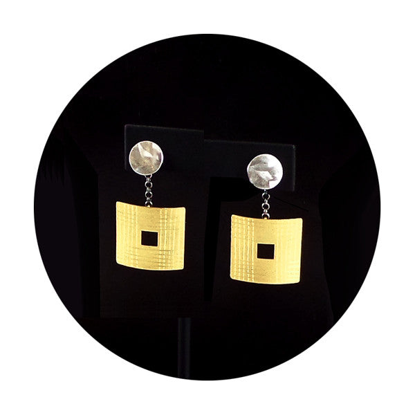 Silver and gold vermeil etched squares post earrings