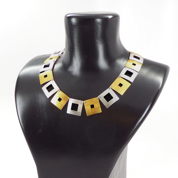 Silver and gold vermeil etched squares necklace