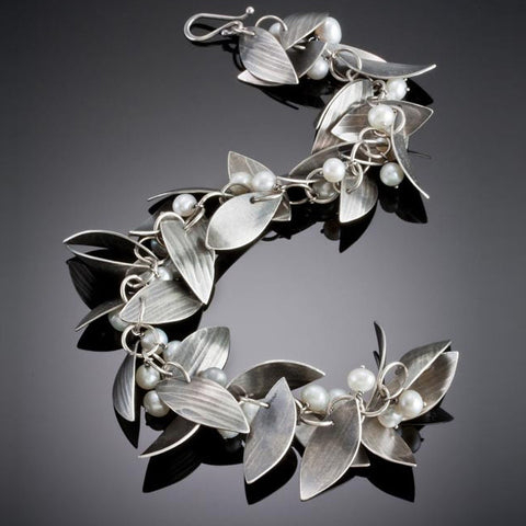 Molly Dingledine falling leaves silver and pearls bracelet