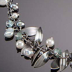 Molly Dingledine falling leaves silver and pearls necklace