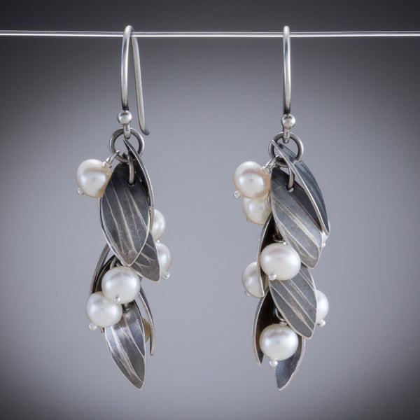 Molly Dingledine falling leaves silver and pearls earrings