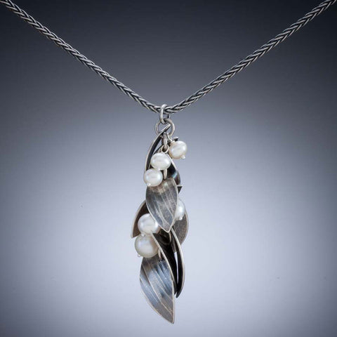 Molly Dingledine falling leaves silver and pearls pendant