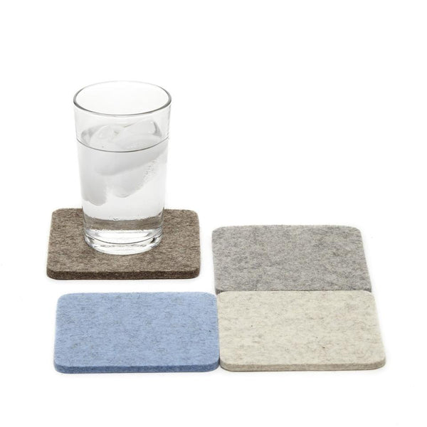 Merino wool square felt coasters, Cobblestone, set of 4