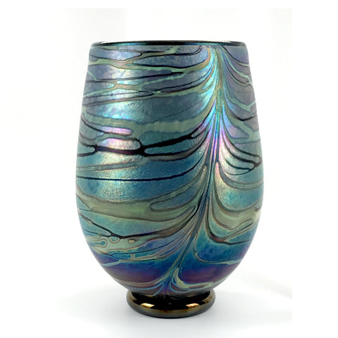 Handcrafted art glass fumed round vessel by David Lindsay
