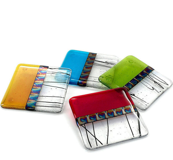 Fused glass coasters, set of 4