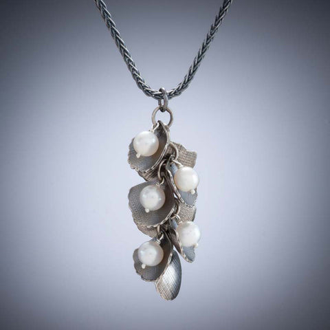 Molly Dingledine ginkgo leaves silver and pearls pendant