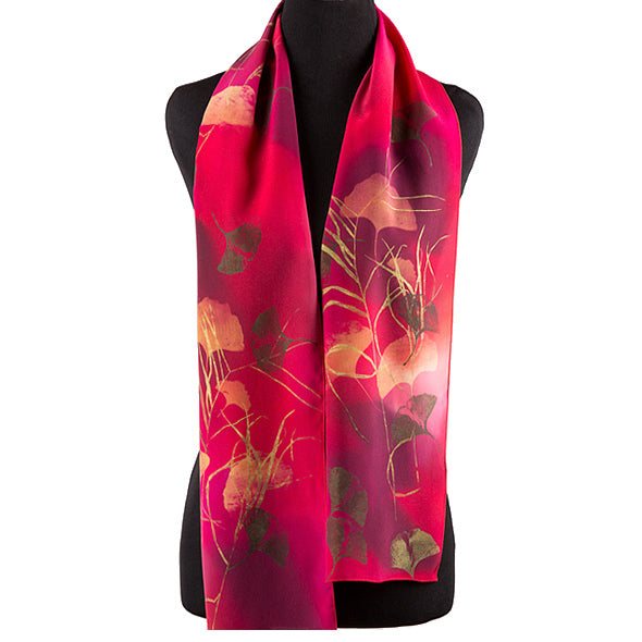 Hand-painted ginkgo silk scarf, red/gold