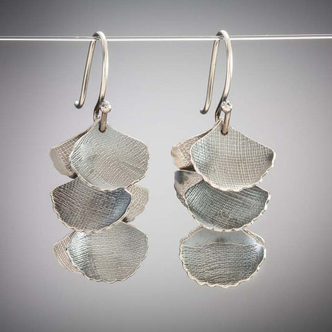 Molly Dingledine ginkgo leaves 3-layer silver earrings