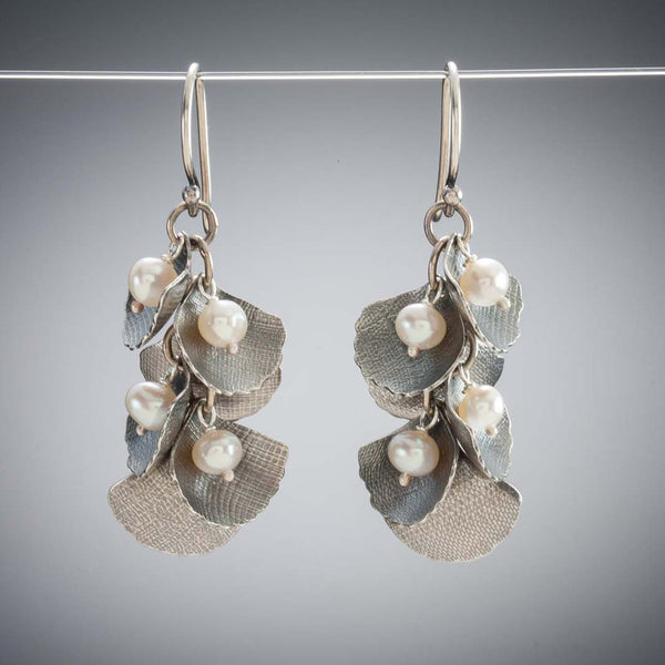 Molly Dingledine ginkgo leaves silver and pearls earrings
