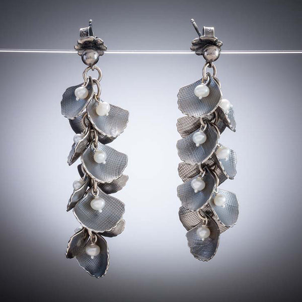 Molly Dingledine ginkgo leaves silver and pearls long post earrings