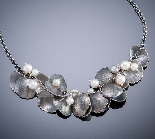 Molly Dingledine ginkgo leaves silver and pearls necklace
