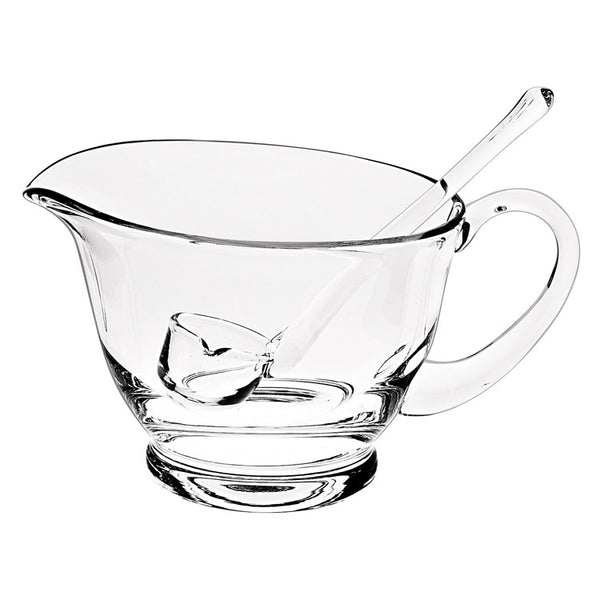 Lead-free glass sauce boat with ladle