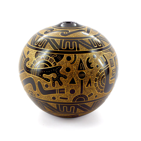 Gold graphic etched ceramic vessel, round