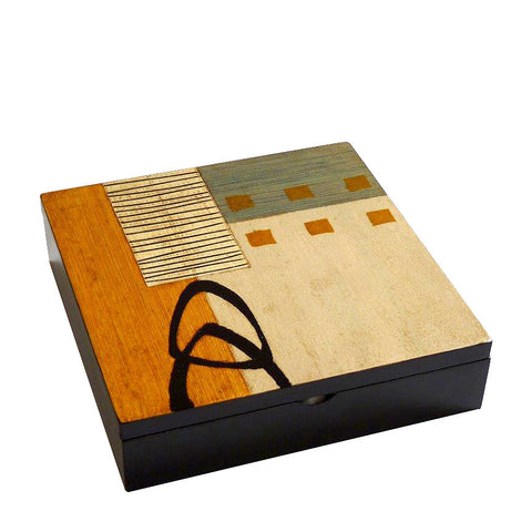 Hand-painted Brazilian wood keepsake box, gold