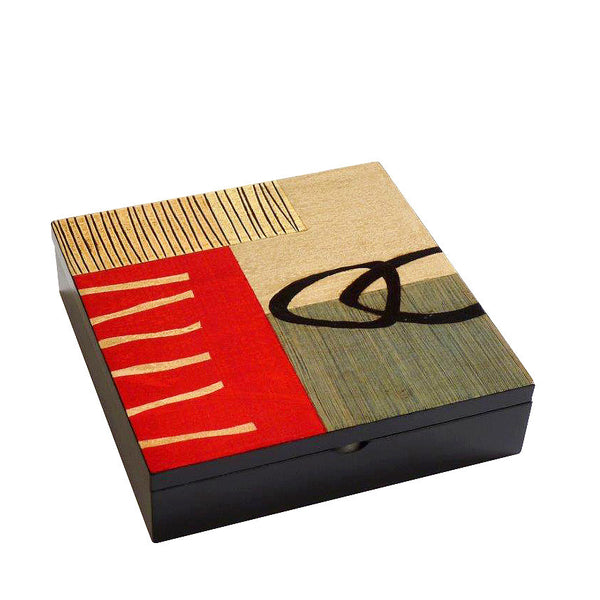 Hand-painted Brazilian wood keepsake box, red