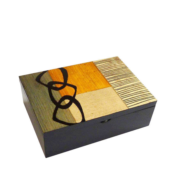 Hand-painted Brazilian wood small rectangle box, gold