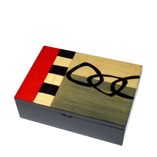 Hand-painted Brazilian wood small rectangle box, red