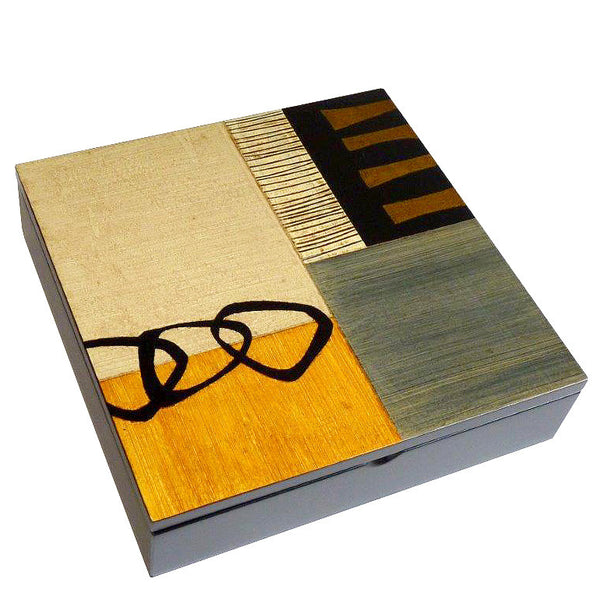 Hand-painted Brazilian wood square box, gold