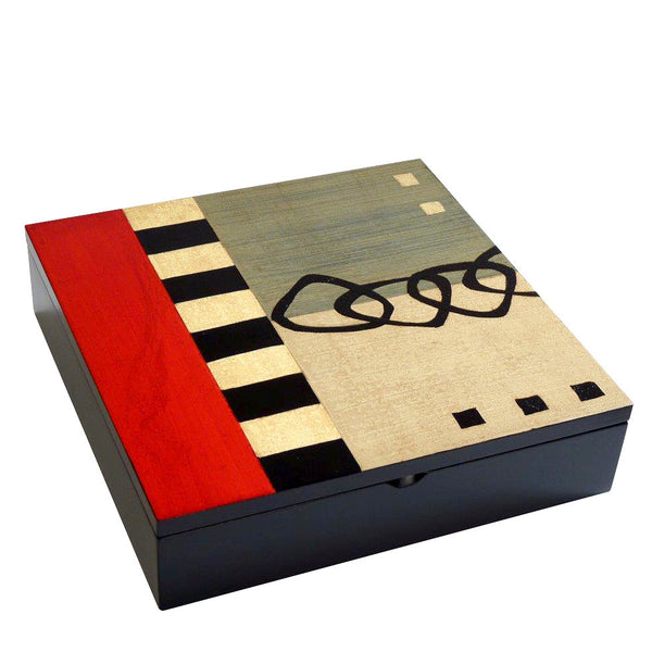 Hand-painted Brazilian wood square box, red