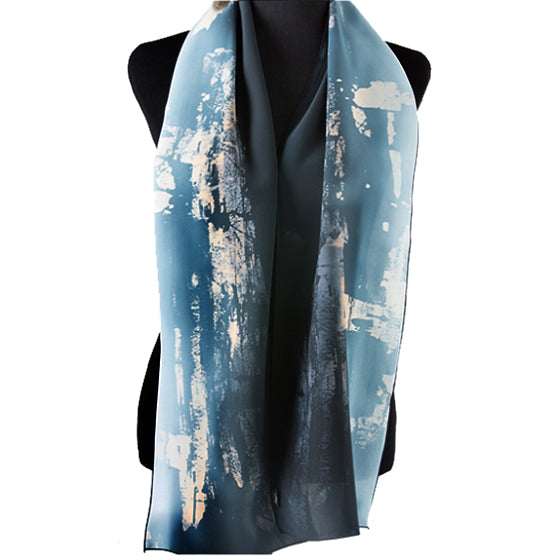 Hand-painted abstract art silk scarf, hematite