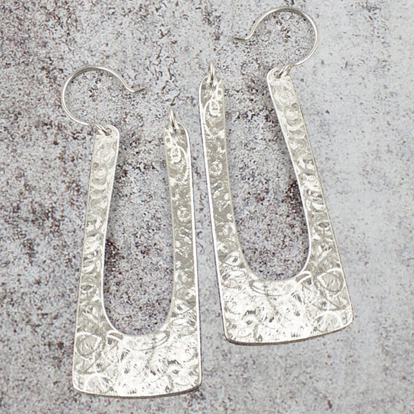 Amy Torello narrow textured flat hoop silver or gold vermeil earrings