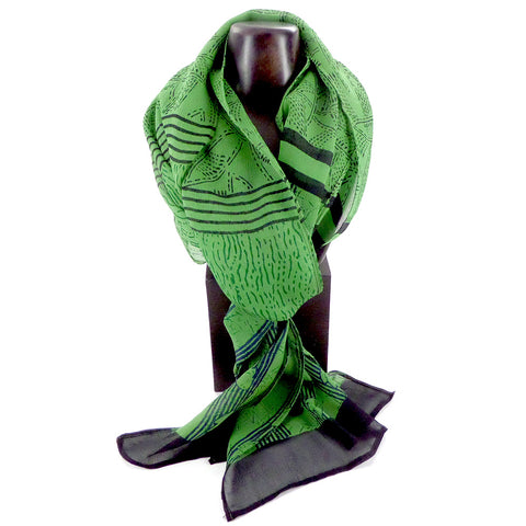 Summer weight silk chiffon scarf, green