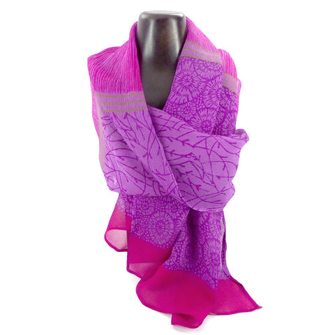 Summer weight silk chiffon scarf, magenta