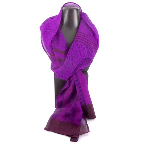 Summer weight silk chiffon scarf, purple