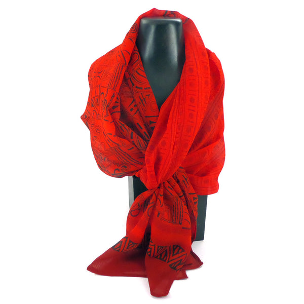 Summer weight silk chiffon scarf, red