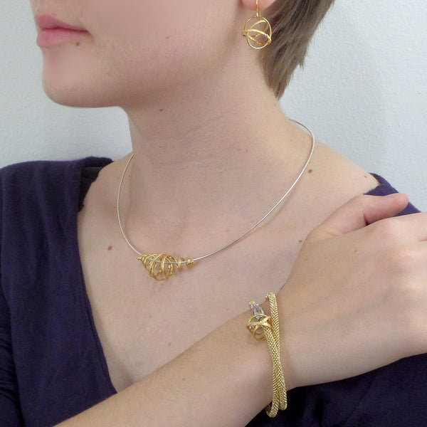 Spiral coil gold vermeil necklace