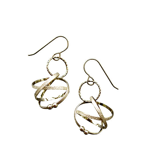 Kathleen Maley silver or gold vermeil small Mobius charm drop loop earrings