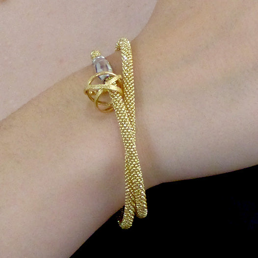 Kathleen Maley woven wrap bracelet with small silver or gold vermeil Mobius charm