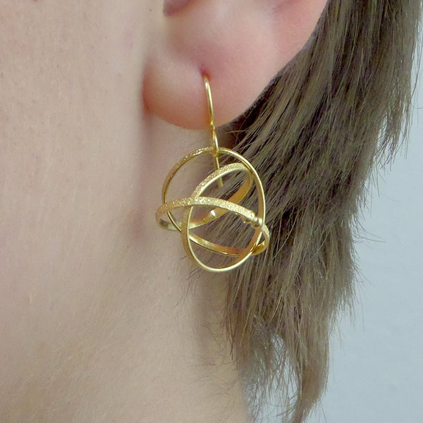Kathleen Maley silver or gold vermeil Mobius charm earrings