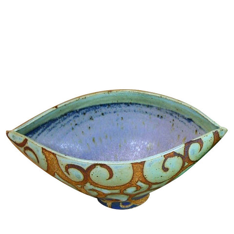 Elliptical ceramic bowl